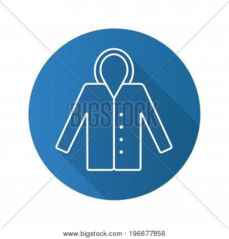 Raincoat flat linear long shadow icon. Waterproof coat. Vector outline symbol