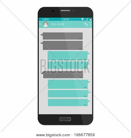 Smart Phone chatting social network template bubbles. Messenger window. Chating and messaging concept. Vector illustration. Eps 10.