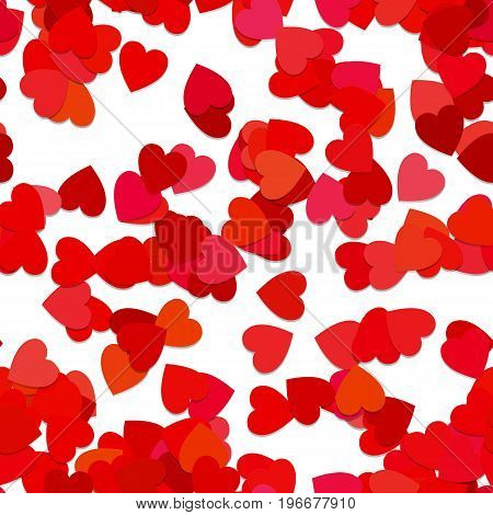 Repeating geometric heart pattern background - vector graphic design from rotated red hearts with shadow effect
