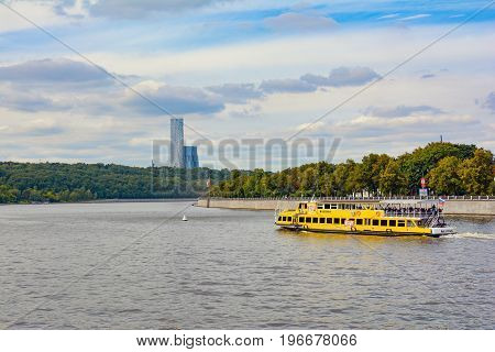 Russia, Moscow, July 11, 2017.Pleasure boat on Moscow river