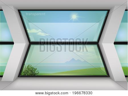 Contemporary panoramic window trapezoid shaped for home or hotel. Modern interior. Transparency of the glass.