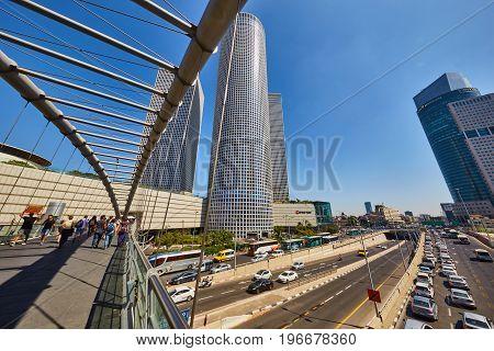 Tel Aviv - 23.05.2017: Tel-aviv Trains And Hi-way Near Azrieli Center