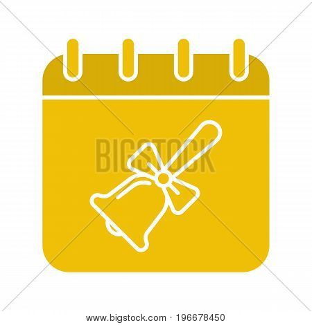 September 1st glyph color icon. Calendar page with school bell with ribbon. Silhouette symbol on white background. Negative space. Vector illustration