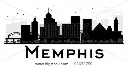 Memphis City skyline black and white silhouette. Simple flat concept for tourism presentation, banner, placard or web site. Business travel concept. Cityscape with landmarks
