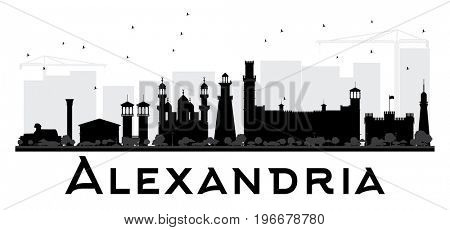 Alexandria City skyline black and white silhouette. Simple flat concept for tourism presentation, banner, placard or web site. Business travel concept. Cityscape with landmarks