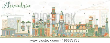 Abstract Alexandria Skyline with Color Buildings. Business Travel and Tourism Concept with Historic Architecture. Image for Presentation Banner Placard and Web Site