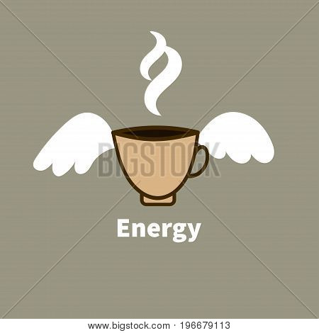 Card morning coffee awakening. Coffee cup with wings. Vector illustration