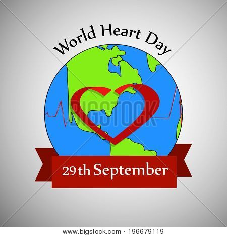 illustration of heart on earth background with World Heart Day 29th September text on the occasion of World Heart Day