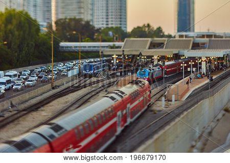 Tel Aviv - 23.05.2017: Tel-aviv Trains And Hi-way Tilt-shift