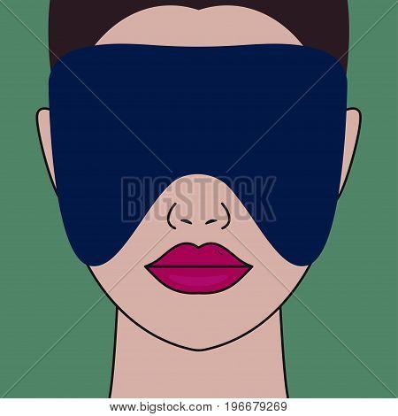 Woman with sleep mask on face. Vector illustration