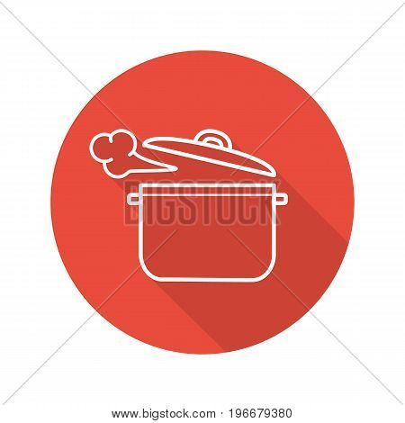 Steaming pot flat linear long shadow icon. Boiling saucepan. Vector outline symbol