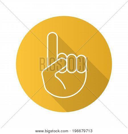 Attention hand gesture flat linear long shadow icon. Point up. Vector outline symbol