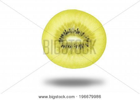 Isolated fresh and juicy sun gold kiwi fruit on white background with clipping path