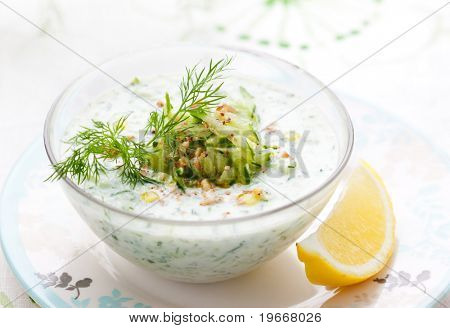 Traditional bulgarian cold cucumber soup with yoghurt.