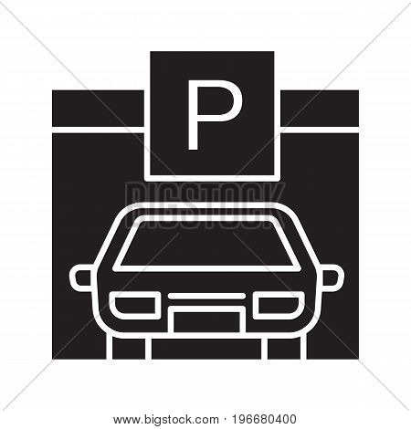 Parking place, carpark, auto shed glyph icon. Silhouette symbol. Car garage with P sign. Negative space. Vector isolated illustration