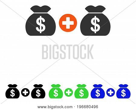 Add Money Bags vector pictograph. Illustration style is a flat iconic colored symbol with different color versions.