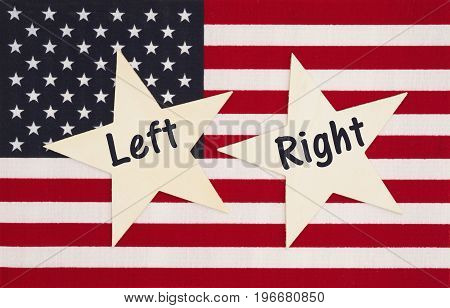 Left and Right text on two wood stars with the United States of America flag