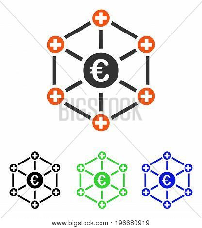 Euro Medical Network vector pictograph. Illustration style is a flat iconic colored symbol with different color versions.