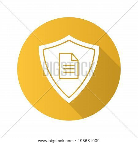 Personal document security flat design long shadow glyph icon. Protection shield with private document. Vector silhouette illustration