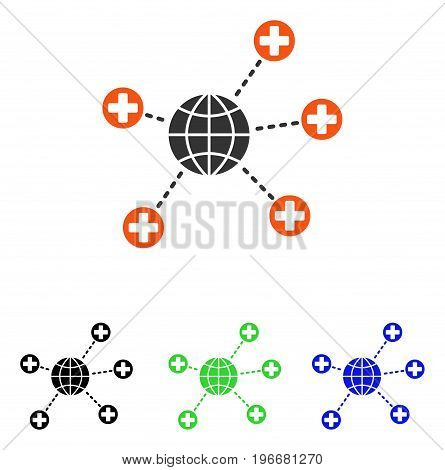 Global Medical Links vector pictogram. Illustration style is a flat iconic colored symbol with different color versions.