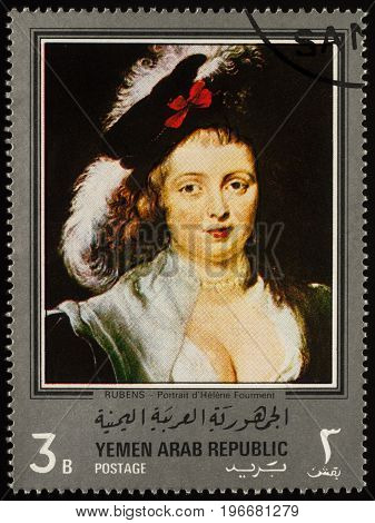 Moscow Russia - July 24 2017: A stamp printed in Yemen Arab Republic shows Portrait of Helene Fourment by Rubens (his second wife) series