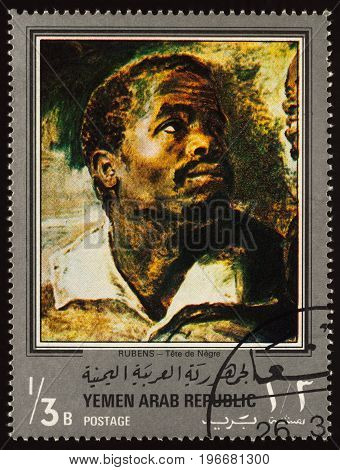 Moscow Russia - July 24 2017: A stamp printed in Yemen Arab Republic shows painting Negro head by Rubens series
