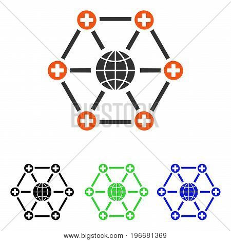 Global Medical Network vector pictogram. Illustration style is a flat iconic colored symbol with different color versions.