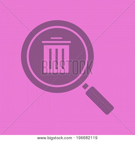 Waste management search glyph color icon. Silhouette symbol. Magnifying glass with trashcan. Negative space. Vector isolated illustration