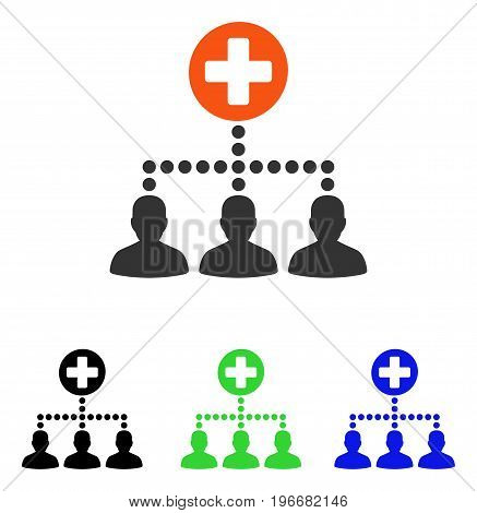 Medical Client Links vector pictogram. Illustration style is a flat iconic colored symbol with different color versions.