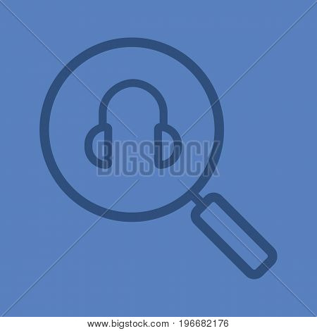 Online music search linear icon. Magnifying glass with headphones. Thick line outline symbols on color background. Vector illustration