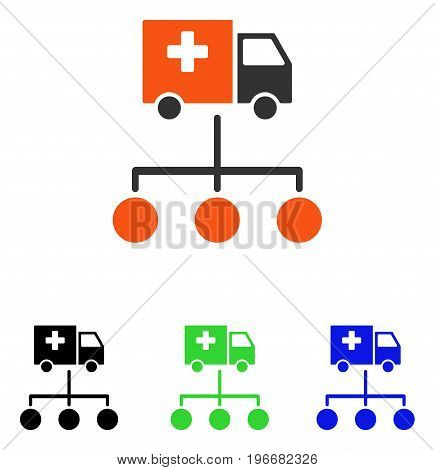 Medical Delivery Links vector icon. Illustration style is a flat iconic colored symbol with different color versions.