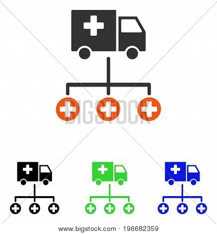 Medical Delivery Structure vector pictograph. Illustration style is a flat iconic colored symbol with different color versions.