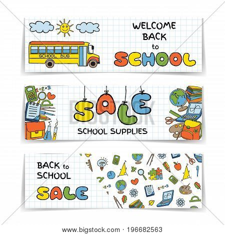 Doodle Back to School SALE banners set. Hand drawn stationary graphic design elements for web site, online shop, sale flyer, discount announcement. Education supplies concept idea. Vector illustration