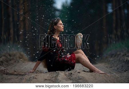 Girl with long hair in red and black dress sits on forest road with owl on her knees. In air is flying fluff.