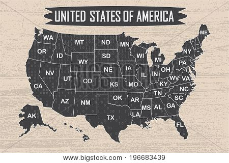 Poster map of United States of America with state names and binary code. Black and white print map of USA for t-shirt, poster or geographic themes. Hand-drawn font and black map with states. Algorithm binary, data code, decryption and encoding, row matrix