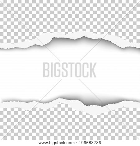 Snatched middle of transparent paper background with torn edges and white resulting window with space for text or ad. Template paper design.