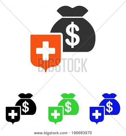 Money Bag Shield vector pictograph. Illustration style is a flat iconic colored symbol with different color versions.