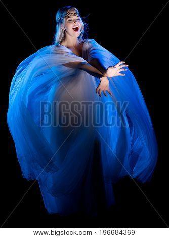 Elven girl isolated on black