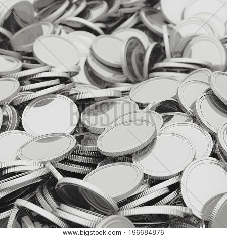 Scattered silver coins closeup background. Pile of money. Financial success, cash flow, business on the rise concept. 3D illustration