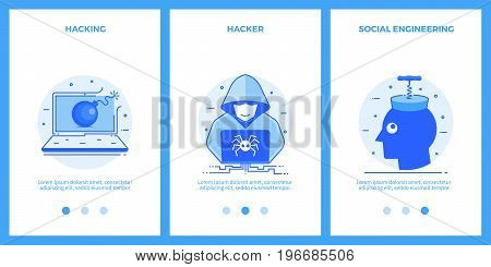 Internet security icons - hacking, hacker, social engineering. Outline blue banners, screens for mobile apps and web sites. Vector illustration.
