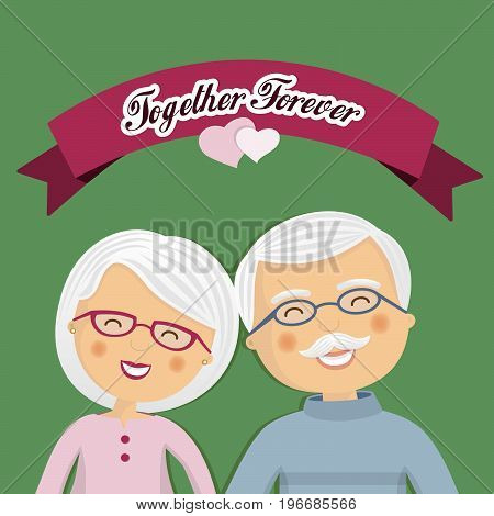 Grandparents celebrating their love with ribbon and a message
