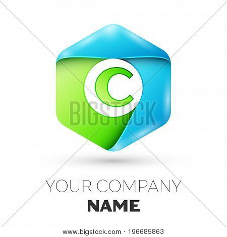 Letter C vector logo symbol in the colorful hexagonal on white background. Vector template for your design