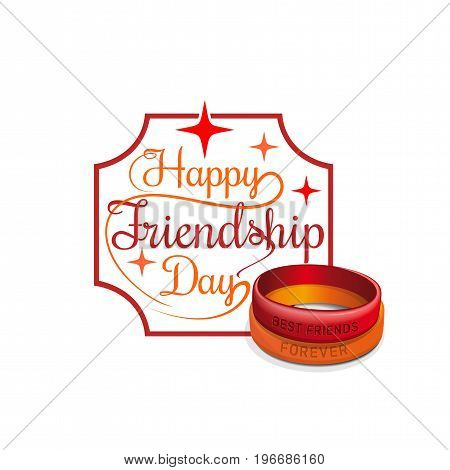 Happy Friendship Day card. Red and orange friendship wristbands. Lettering card. Vector typographic design