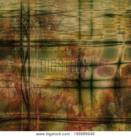 Mottled vintage background with grunge texture and different color patterns: yellow (beige); pink; green; brown; gray; red (orange)