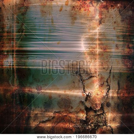 Background with dirty grunge texture, vintage style elements and different color patterns: yellow (beige); brown; gray; green; blue; red (orange)