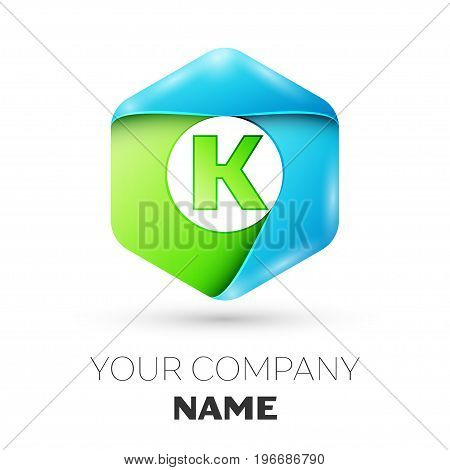 Letter K vector logo symbol in the colorful hexagonal on white background. Vector template for your design