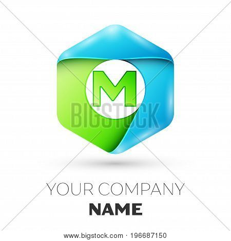 Letter M vector logo symbol in the colorful hexagonal on white background. Vector template for your design