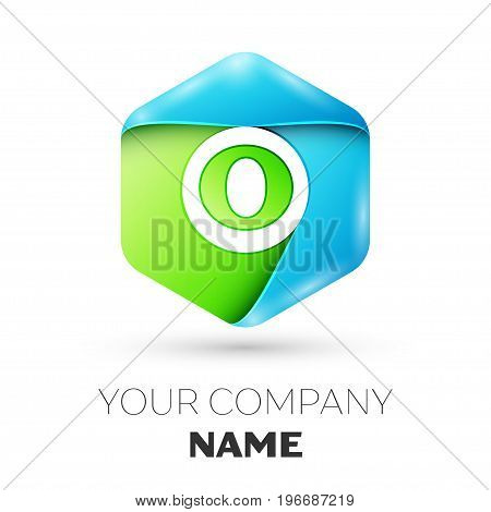 Letter O vector logo symbol in the colorful hexagonal on white background. Vector template for your design