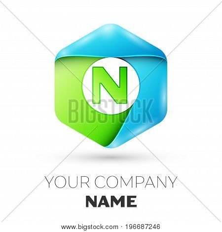 Letter N vector logo symbol in the colorful hexagonal on white background. Vector template for your design
