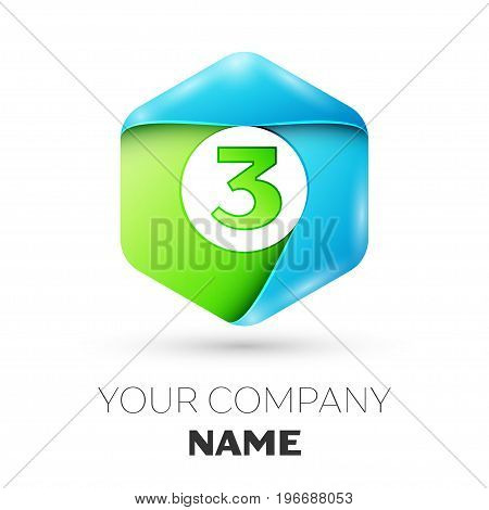 Number three vector logo symbol in the colorful hexagonal on white background. Vector template for your design